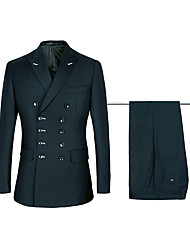 cheap -Navy / Black Solid Colored Standard Fit Polyster / Cotton Suit - Peak Double Breasted Six-buttons