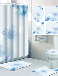cheap -Bathroom Waterproof Shower Curtain and Cushion Four-piece Set Modern Polyester New Design