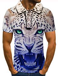 cheap -Men's Golf Shirt 3D Print Leopard Graphic Prints Animal Button-Down Short Sleeve Street Tops Casual Fashion Cool Blue / Sports