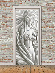 """cheap -Sculpture Style 2pcs Self-adhesive Creative European Style Beauty Door Stickers Living Room Diy Decoration Home Waterproof Wall Stickers 30.3""""x78.7""""(77x200cm), 2 PCS Set"""