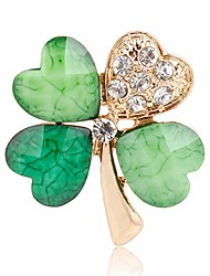 cheap -autumn water green four leaf clover rhinestones lapel pins brooches women men in assorted designs