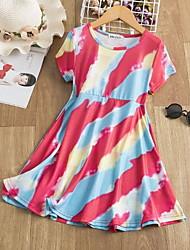 cheap -Kids Little Girls' Dress Graphic Print Red Knee-length Short Sleeve Active Dresses Summer Regular Fit 5-12 Years