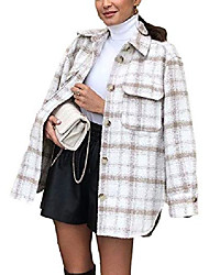 cheap -qiaomai women's tweed plaid wool blend lapel button midi pocketed shacket overshirt(beige-m)