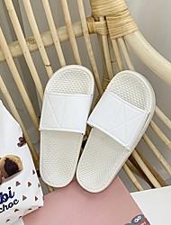 cheap -Women's Sandals Flat Heel Round Toe PU Color Block White Black