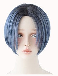 cheap -Europe and United Stated popular short wig Synthetic Blue Brown Ombre Wigs For Women High Temperature Fiber