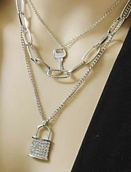 cheap -diamond lock necklace female retro wild multi-layer key lock sweater chain