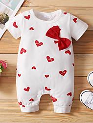 cheap -Baby Girls' Basic Print Short Sleeves Romper White