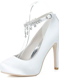 cheap -Women's Wedding Shoes Stiletto Heel Round Toe Satin Rhinestone Solid Colored White Black Purple