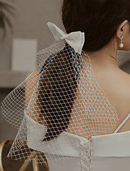 cheap -One-tier Cute Wedding Veil Shoulder Veils with Faux Pearl / Satin Bow 15.75 in (40cm) Tulle