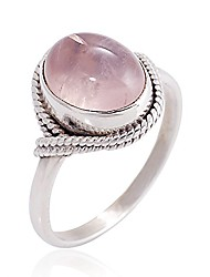 cheap -women's 925 sterling silver rose quartz oval gemstone vintage ring