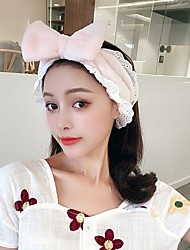 cheap -super fairy korea cute wide-brimmed lace female face wash net red headband simple bow knot remover makeup headband