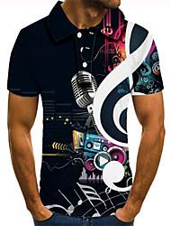cheap -Men's Golf Shirt Tennis Shirt 3D Print Graphic Prints Musical Instrument Button-Down Short Sleeve Street Tops Casual Fashion Cool Black / Sports