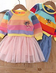 cheap -Kids Little Girls' Dress Snowman Dusty Rose Rainbow Polka Dot Causal Mesh Patchwork Blue Blushing Pink Knee-length Long Sleeve Sweet Dresses Autumn / Fall Fall & Winter Loose 2-8 Years
