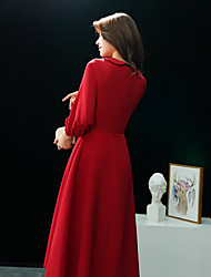 cheap -toast dress bride 2020 new autumn and winter wedding engagement red evening dress mid-length back door dress long sleeves