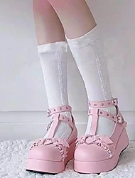 cheap -Girls' Heels Flower Girl Shoes Princess Shoes PU Mary Jane Big Kids(7years +) Daily Party & Evening Rivet Buckle Black Pink Spring Summer