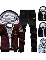 cheap -Men's 2 Piece Embroidered Tracksuit Sweatsuit Casual Athleisure Winter Long Sleeve Fleece Thermal Warm Windproof Soft Fitness Running Jogging Bodybuilding Warm-Up Sportswear Plus Size Black Red Blue