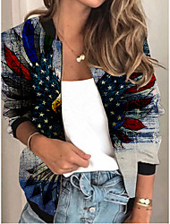 cheap -Women's Jackets Print Print Sporty Spring Jacket Regular Daily Long Sleeve Air Layer Fabric Coat Tops Blue