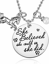 cheap -mixjoy horse jewelry gift for girls horse and pearl pendant necklace for girls inspirational gifts for women graduation gift