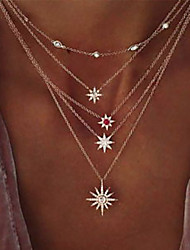 cheap -necklace bohemian necklace jewelry simple flash diamond exquisite four-pointed star star water wave chain