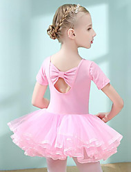 cheap -Ballet Dress Bowknot Pleats Solid Girls' Training Performance Short Sleeve High Cotton Blend Mesh