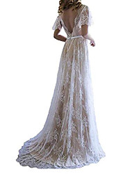 cheap -elleybuy women's long lace beach wedding dresses v neck 2020 bohemian bridal gown us8 ivory