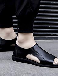cheap -sandals men's summer new summer soft-soled non-slip men's beach shoes cowhide roman soft leather sandals all black