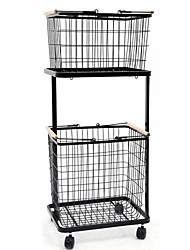 cheap -Storage Baskets  Iron Black/White Mobile,Layered Clothes Basket