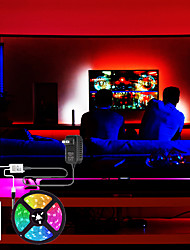 cheap -5m Flexible LED Strip Lights Light Sets RGB Tiktok Lights 300 LEDs SMD2835 8mm 1 24Keys Remote Controller 1 x1A power adapter 1 set Multi Color Cuttable Party Decorative 12 V