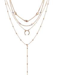 cheap -bohemian style moon bead pendant multi-layer jewelry