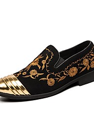 cheap -european and american trend of large size men's shoes, hair stylist, embroidered pointed leather shoe covers, breathable lazy shoes, korean casual shoes