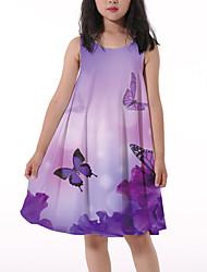 cheap -Kids Little Girls' Dress Butterfly Floral Animal Print Purple Knee-length Sleeveless Flower Active Dresses Regular Fit 5-12 Years