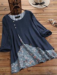 cheap -Women's Plus Size Tops Blouse Shirt Patchwork Floral Large Size Round Neck Long Sleeve Casual / Daily Big Size XL 2XL 3XL 4XL 5XL Light Blue Navy Light Green