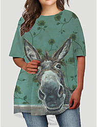 cheap -Women's Plus Size Dress T Shirt Dress Tee Dress Short Mini Dress Half Sleeve Graphic Animal Print Basic Fall Spring Summer Green XL XXL 3XL 4XL 5XL