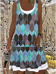cheap -2021 european and american cross-border amazon wish foreign trade women's loose fashion digital printing casual dress 9114