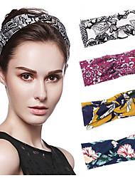 cheap -4 Pcs/set Hair Band Temperament Printing Knotted Headband Women's Wide Side Headband Headband Accessories