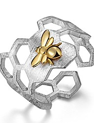 cheap -lotus fun 925 sterling silver rings handmade unique thumb ring natural honeycomb bee open ring honeycomb home guard jewelry gift for women and girls