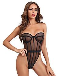 cheap -wdirara women's mesh strapless stretch bandeau underwire lingerie bodysuit black s