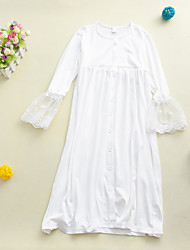 cheap -Kids Little Girls' Dress Solid Colored Lace Trims White Knee-length Long Sleeve Active Dresses Summer Regular Fit 2-12 Years