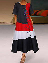 cheap -Women's Swing Dress Midi Dress White Red Khaki Gray Short Sleeve Geometric Spring Summer Casual 2021 S M L XL XXL 3XL 4XL 5XL