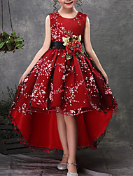 cheap -Kids Little Girls' Dress Red Floral Christmas Daily Red Green Sleeveless Party Dresses 3-13 Years