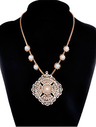 cheap -Women's Pearl Pendant Necklace Retro Flower Modern Alloy Rose Gold 45+5 cm Necklace Jewelry 1pc For Anniversary Prom Birthday Party Festival