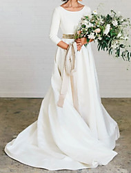cheap -A-Line Wedding Dresses Jewel Neck Sweep / Brush Train Polyester 3/4 Length Sleeve Formal Plus Size Elegant with Draping 2021