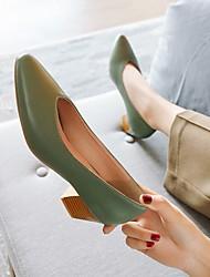 cheap -Women's Heels Cuban Heel Faux Leather Almond Black Yellow
