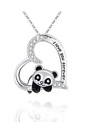 cheap -heart-shaped rhinestone pendant, alloy painted oil, national treasure panda necklace, femalenecklace