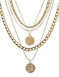 cheap -fashion multi-layer necklace disc head pendant necklace fashion trend simple neckwear