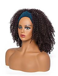 cheap -headscarf wig european and american women's dark brown medium-length and small curly hair high-temperature silk chemical fiber headgear factory wholesale