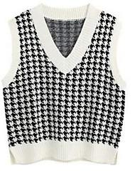 cheap -Women's Knitted Houndstooth Vest Sleeveless Sweater Cardigans V Neck Fall Spring White Black Purple