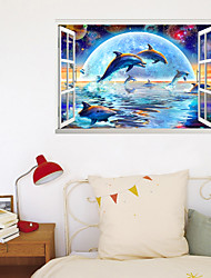 cheap -3D Window Wall Stickers About Dolphin Diving Living Room Bedroom Corridor Decoration Can Be Removed Stickers