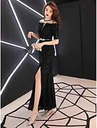 cheap -fashion evening dress female 2020 new one-shoulder high-end atmosphere celebrity noble temperament dress fishtail long spring