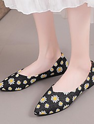 cheap -Women's Sandals Flat Heel Pointed Toe PU Floral Black Red Gold
